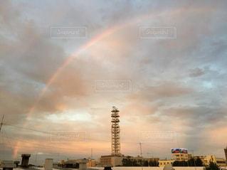 風景,空,夕日,夕焼け,虹,鵠沼