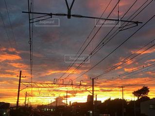 風景,空,夕日,夕焼け,線路,鵠沼