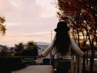 風景,公園,秋,夕日,夕方,女の子,秋空,藤沢