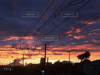 風景,空,秋,富士山,夕焼け,線路,秋空