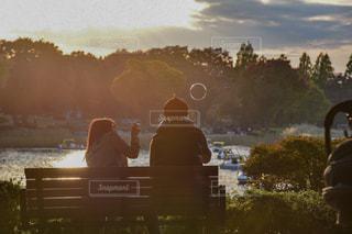 水の体の横にあるベンチに座っている男の写真・画像素材[956997]