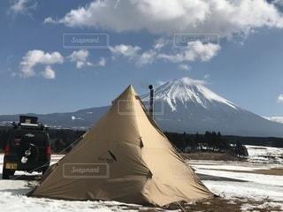 自然,冬,雪,屋外,車,山,キャンプ,テント,薪ストーブ