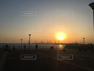 夕日,夕陽,大阪港,ダイヤモンドポイント,中央突堤