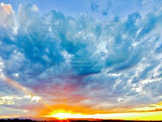 空,夕日,雲,夕陽