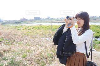 カメラ女子,二子玉川,川沿い,多摩川