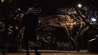 暗闇の中で木の隣に立っている男 - No.863821