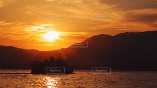 海,空,夕日,船,影,夕陽