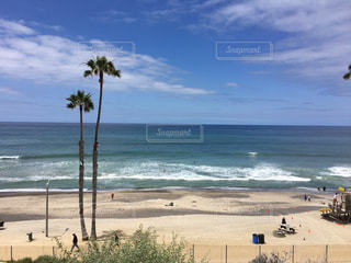 海の隣の砂浜の人々のグループの写真・画像素材[2333018]