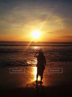 海,空,夕日,夕暮れ,海岸,バリ島,バリ