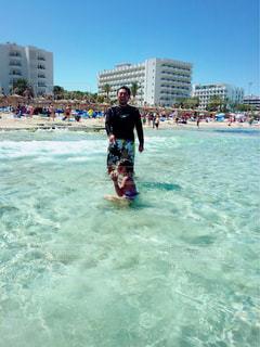 自然,海,空,親子,海岸,子供,父,お父さん,マヨルカ島,笑い声