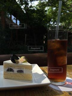 カフェ,ケーキ,森,紅茶,ショートケーキ,巨峰