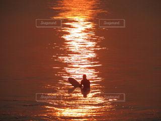 空,太陽,朝日,水面,サーファー,光,日の出,波乗り,波待ち