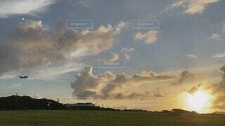自然,風景,空,飛行機,石垣島,夕陽,着陸前