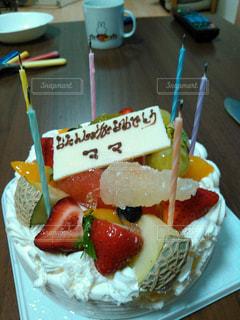 ケーキ,誕生日,手書き,ママ,プレート,け