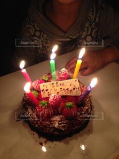 ケーキ,お誕生日,自宅,ロウソク
