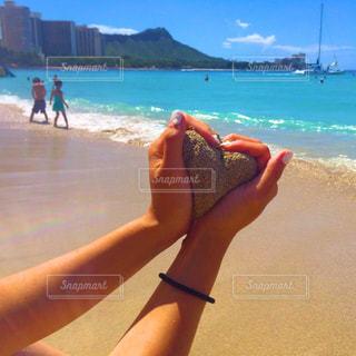 空,砂,晴天,ハート,Hawaii,beach,オアフ島,waikiki