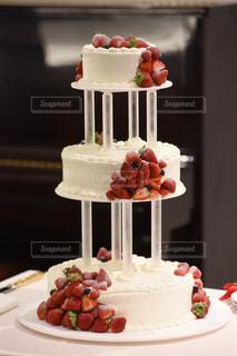 ケーキ,きれい,いちご,結婚,3段