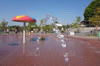公園,夏,水,水滴,水玉,水遊び,水の宝石
