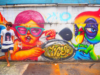 バンコク路地裏のアートの写真・画像素材[741288]