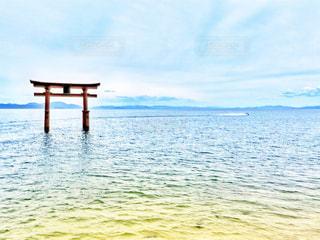 湖の上の鳥居の写真・画像素材[3345363]
