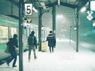 風景,夜,雪,駅,電車,小樽