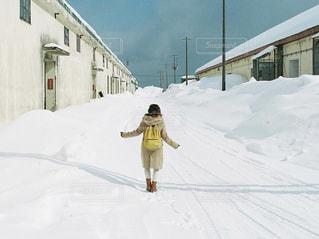 雪,屋外,白,北海道,女の子,洋服,人物,人,小樽,日中