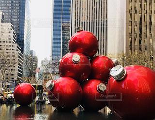 冬,ニューヨーク,海外,赤,アメリカ,観光,旅行,クリスマス,マンハッタン,巨大,オーナメント