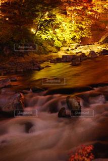 香嵐渓の紅葉ライトアップと川の写真・画像素材[863819]