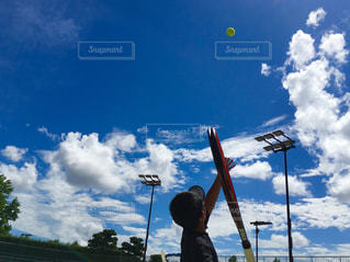 空,スポーツ,屋外,青空,テニスコート,テニス,運動,ラケット,ジュニアテニス
