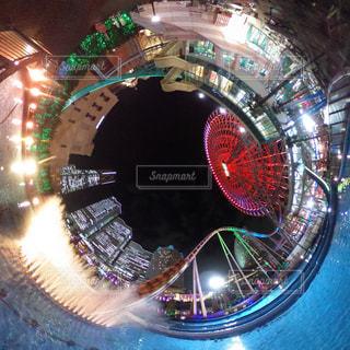 夜,夜景,遊園地,ジェットコースター,横浜,みなとみらい,コスモワールド,360度カメラ