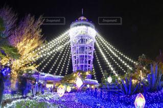夜ライトアップされたクリスマス ツリーの写真・画像素材[1680349]