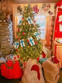 クリスマスツリーの隣に座っているぬいぐるみのグループの写真・画像素材[3987660]