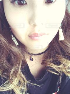自撮り美容院帰り30代ママハンドメイドアクセ夏アクセの写真・画像素材[634155]