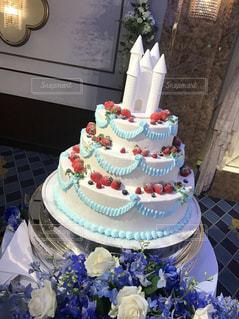 ケーキ,白,青,お城,シンデレラ,ウェディング