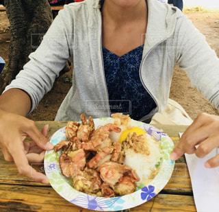 ハワイ,外食,ノースショア,ガーリックシュリンプ,ライス,私とご飯