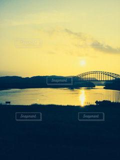 空,夕日,橋,雲,岩手