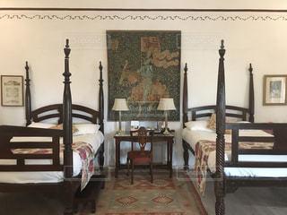 インテリア,素敵,古風,寝室,ベット