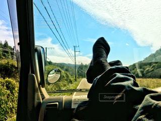 風景,空,秋,雲,青空,車内,景色,うろこ雲,秋空
