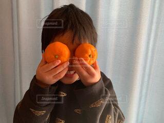 食べ物,冬,屋内,カーテン,子供,オレンジ,手持ち,果物,人物,人,みかん,こども,ポートレート,目,ライフスタイル,手元,笑う,子供の手,ミカン,長袖,2つ,二個