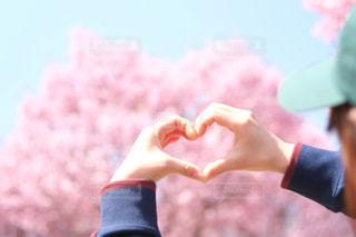 女性,空,桜,屋外,ピンク,青,ハート,人,♡,❤︎,桜名所