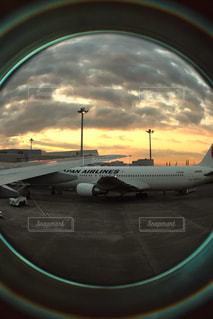 夕日,雲,夕陽,羽田空港,出発前