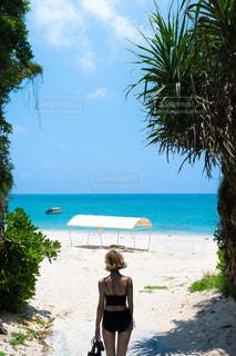 女性,風景,海,空,屋外,砂,青空,青,後ろ姿,砂浜,沖縄,観光,人物,背中,人,後姿,旅行,旅,眺め,日中,フォトジェニック,インスタ映え