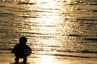 海,後ろ姿,夕暮れ,子供,人物,背中,人,後姿,キラキラ,男の子