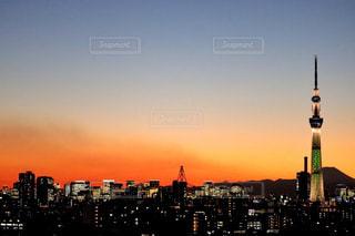 風景,空,夕日,富士山,東京,スカイツリー,夕陽,マジックアワー