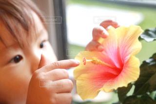 近くに花を持っている人のの写真・画像素材[1368059]