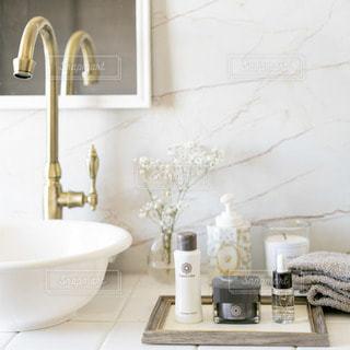 洗面台と鏡のある部屋の写真・画像素材[2928376]