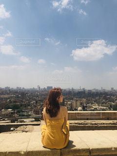 女性,風景,空,屋外,人物,人,高層ビル,クラウド