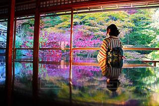 秋,紅葉,京都,着物,和服,リフレクション,瑠璃光院,秋色