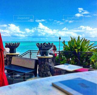 カフェ,風景,海,空,夏,ビーチ,青,ハワイ,バー,ワイキキ,シェラトン