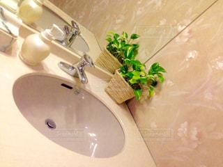 洗面台と鏡付きのバスルーム - No.774776